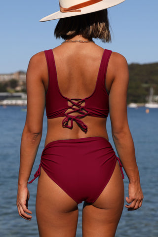 Twist Front Drawstring Side High Waisted Bikini Set