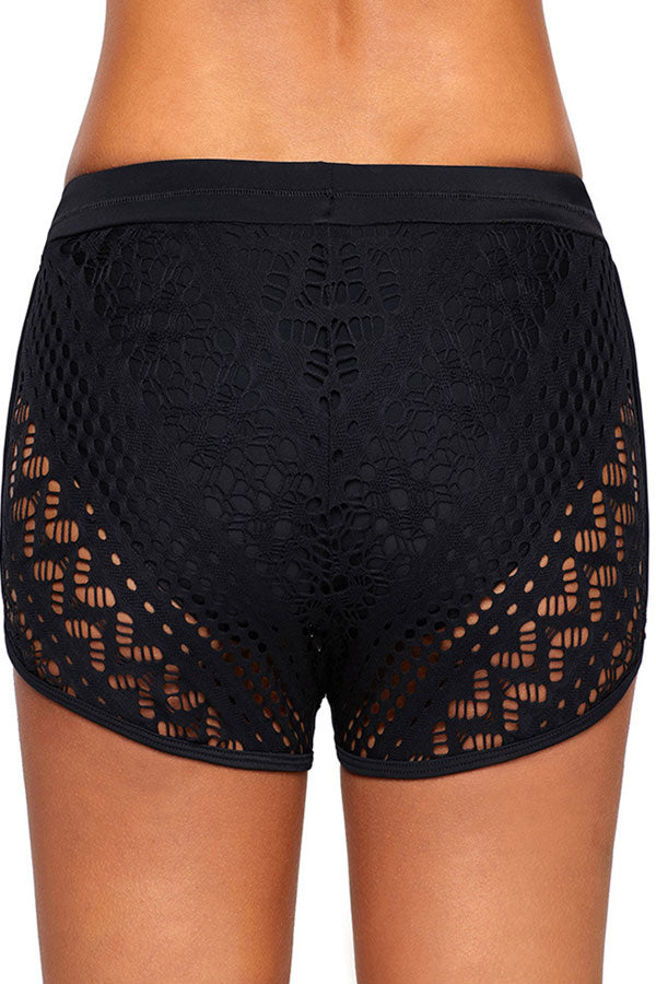 Drawstring Waist Solid Lace Shorts