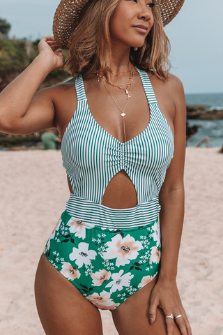 Stripe & Flower Print Tie Back One Piece Swimsuits
