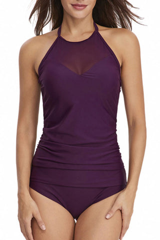 Mesh Panel Halter Neck Elegant High Waisted Tankini Set