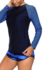 Beachsissi Raglan Sleeve Striped Surfing Swimwear