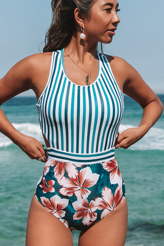 Stripe & Flower Print Back Tie One Piece Swimsuit