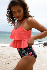 Layered Hem High Waist Flower Print Tankini Set