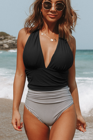 Halter Neck Retro Stripe Cute One Piece Swimsuit