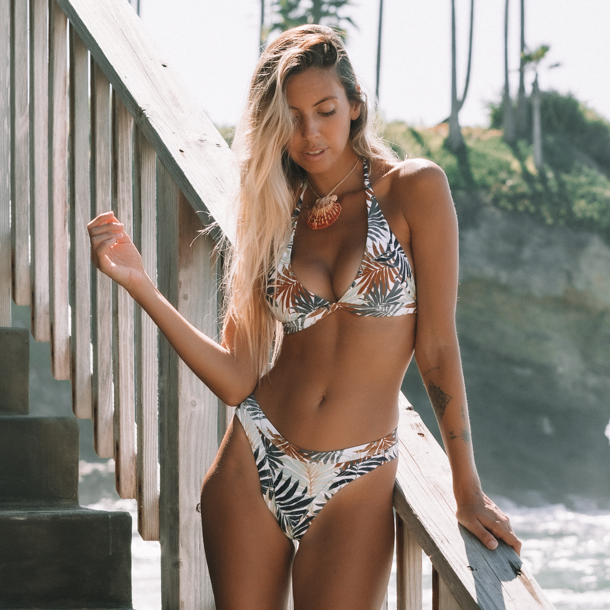 Leaf Print Halter Neck Bikini Set