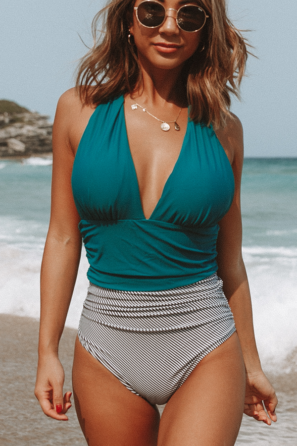 Be Lonely Halter Neck Ruched One Piece Swimwear