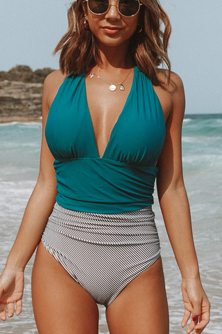 Be Lonely Halter Neck Ruched Sexy One Piece Swimwear
