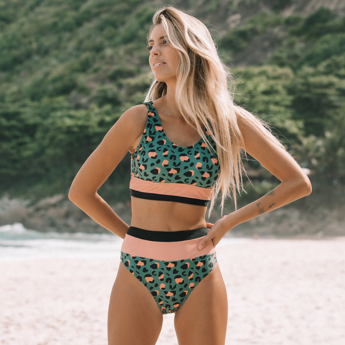 Leopard Print Patchwork Design High Waisted Bikini Set