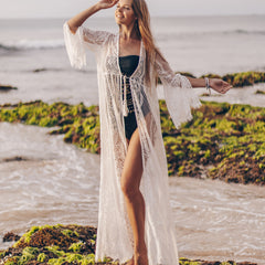Tie Front Lace Beach Cover Up