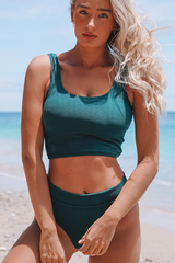 Scoop Neck High Waist Bikini Set