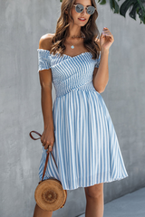 Smocked Chest Bardot Stripe Print Mini Dress