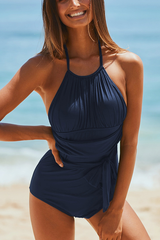 4 Colors Tie Front Ruched Design Halter One Piece Swimsuits