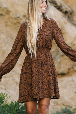 Lantern Sleeve Leopard Print Smocked Waist Midi Dress