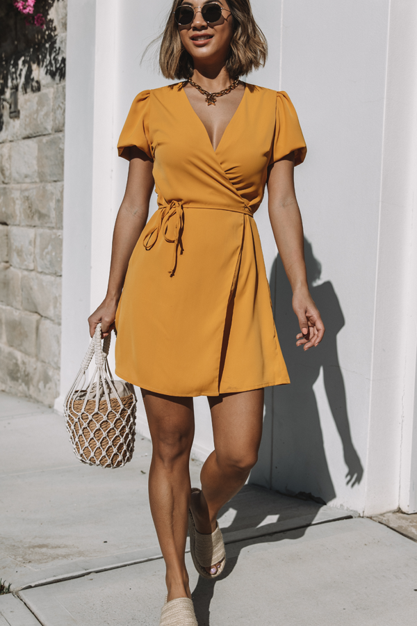 V Neck Puff Sleeve Wrap Mini Dress