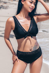 Tie Front Lace Panel High Waist Bikini Set