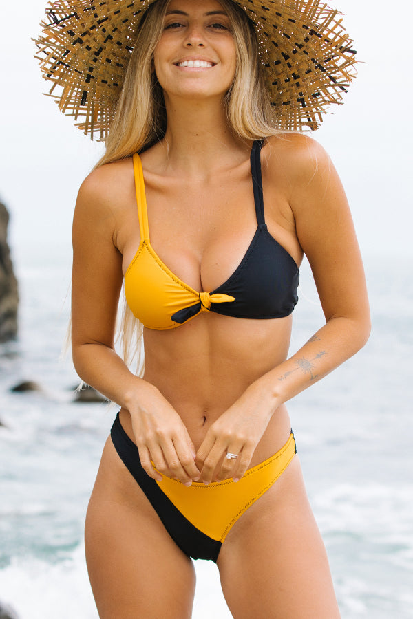 Contrast Color Knot Front Two Pieces Bikini