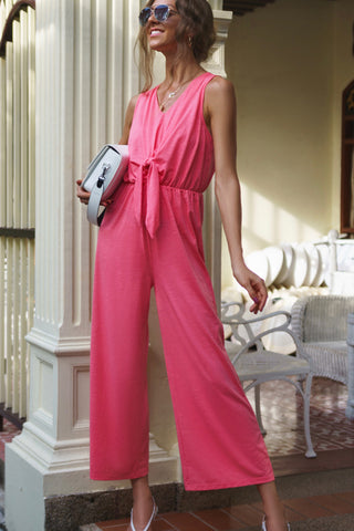 Tie Front High Waist Jumpsuit