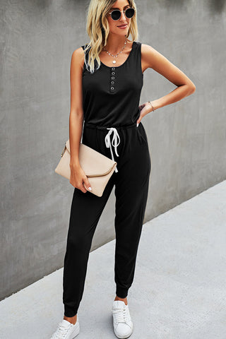 Solid Color Sleeveless Drawstring Wasit Jumpsuit