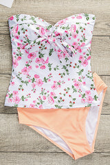 Strapless or Halter Flower Print Tankini Set