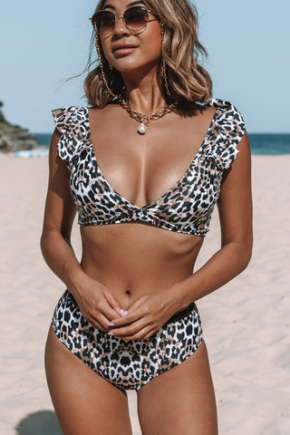 Ruffle Shoulder Leopard Print High Waisted Bikini Set
