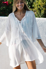 Ruffle Sleeve Tie Front Swimwear Cover Up