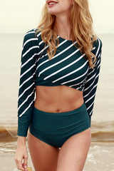 UV-Protection Retro Stripe Surfing Swimwear