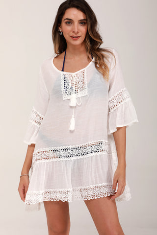 Flare Sleeves White Cover Up