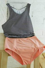 Beachsissi Stripe Print High Waist Two Piece Swimwear