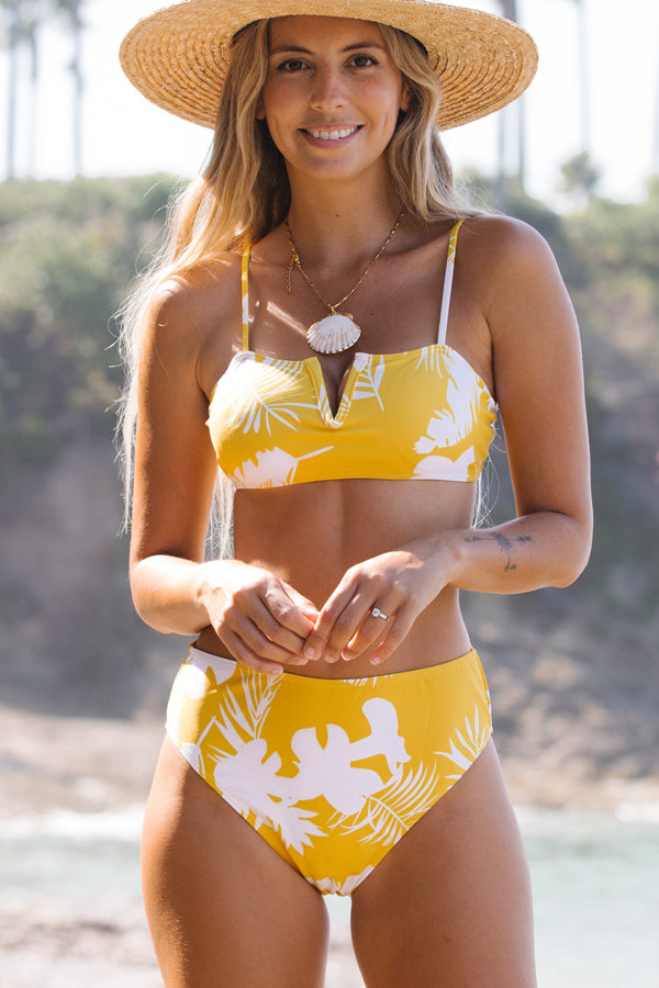 Leaf Print V Front Two Pieces Bikini
