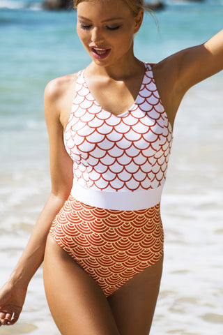 Printed Patchwork One Piece Swimsuit