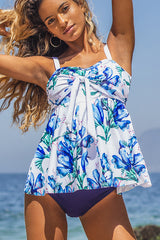 Floral Print Knot Front Cute Tankini Set
