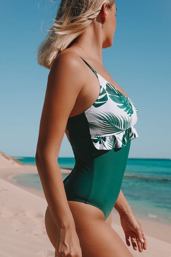 Leaf Print Stringy Selvedge One Piece Swimwear
