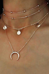Classic Metal Moon Pendant Necklace