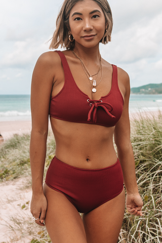Lace Up Front Ribbed Wine Red Bikini Set