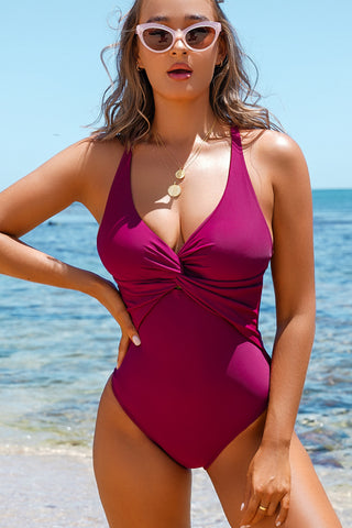 Purple Red Twist Front and Back One Piece Swimwear
