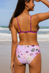 Purple and Floral Print Scalloped Edge Bikini Set