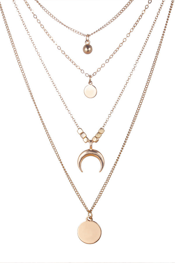Multi-layered Moon Disc Necklace