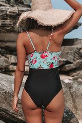 Sexy V Neck Twist Front One Piece Swimsuit