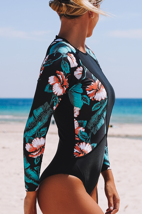 Leaf & Flower Print Patchwork Design Surfing Swimwear