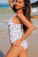 Flower Print Strappy Back One Piece Swimwear