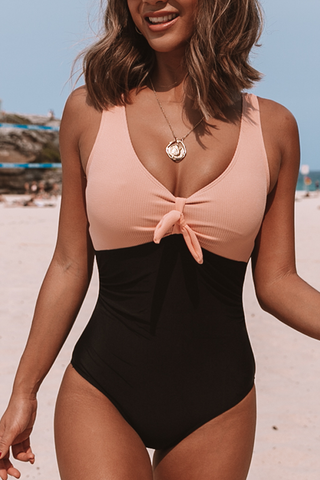 Tie Front Color Block One Piece Swimsuits