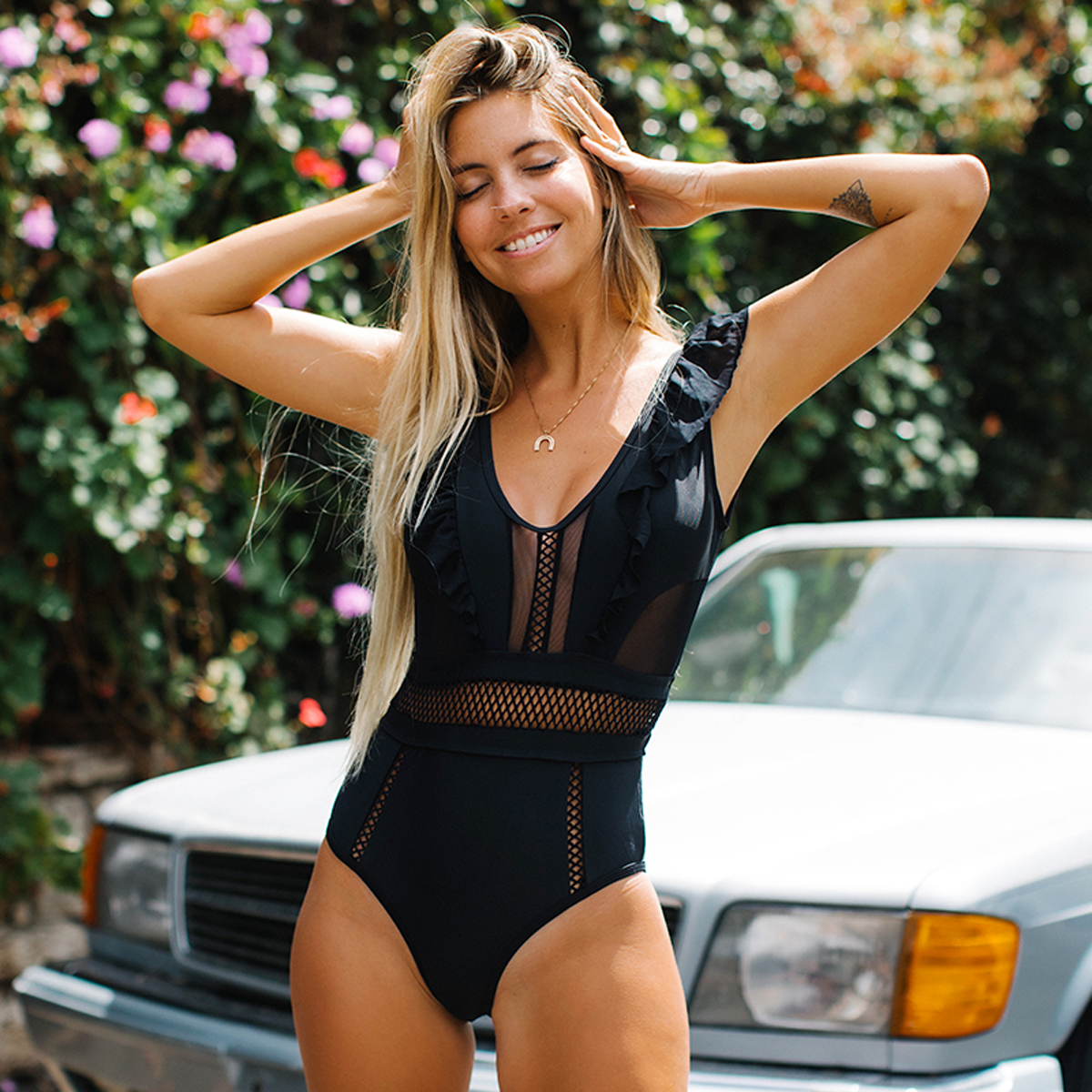 Stringy Selvedge Mesh Panel One Piece Swimsuits