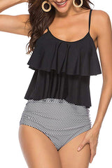 Stripe Print Cute Tankini Set