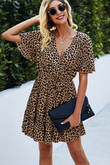 Leopard Print High Waist Frill Hem Dress