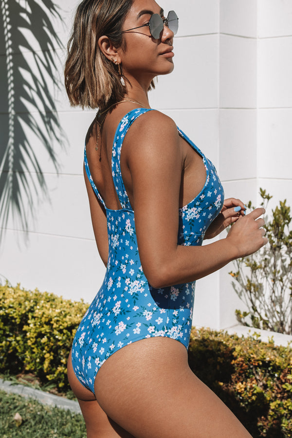 Floral Print V Neck One Piece Swimsuits