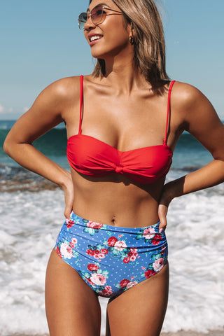 Knot Front Floral Print High Waisted Bikini Set