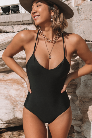 Criss Cross Back Solid Black One Piece Swimsuits