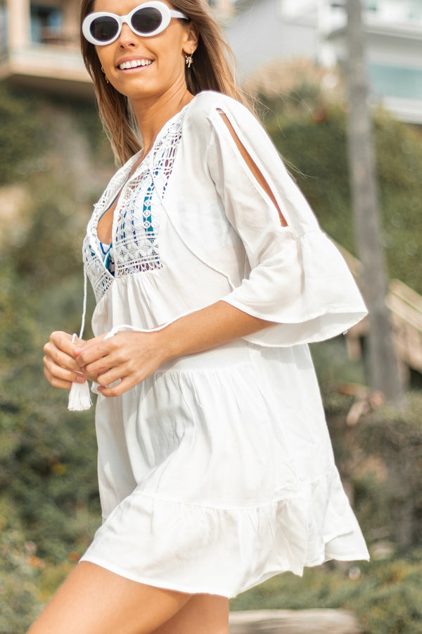 Solid Color Ruffle Hem Beach Cover Up