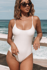 Solid Color Back Cross One Piece Swimwear