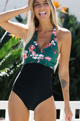 Flower Print Twist Front Tie Back One Piece Swimwear
